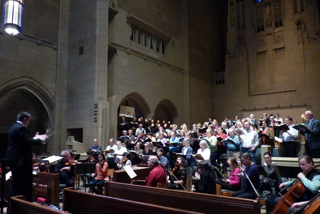 The Canterbury Choral Society choir rehearses the complex harmonics and soaring spirit of Bach's famous B Minor Mass on Saturday under the firm but magical wand of conductor Jonathan De Vries
