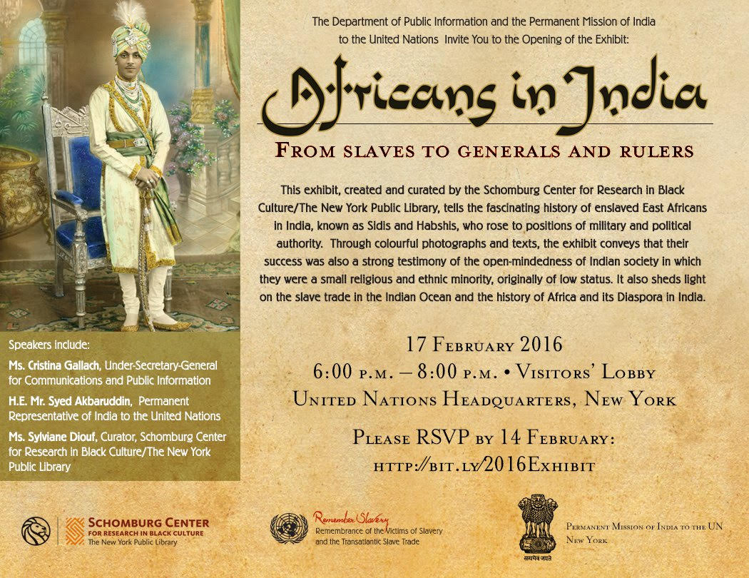 Feb 17 Wed 6-8pm UN Visitors Lobby Exhibit From Slaves to