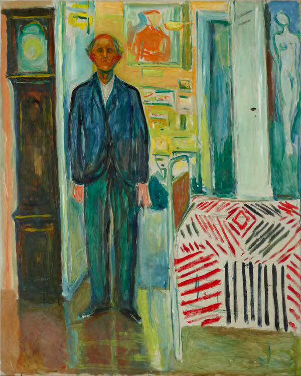 Edvard Munch. Self Portrait between the Clock and the Bed, 1940–43. Oil on canvas. Munch Museum, Oslo.