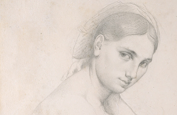 Jean Auguste Dominique Ingres (French, 1780-1867). Study for Raphael and the Fornarina (detail), ca. 1814. Graphite on white wove paper, 10 x 7 3/4 in. (25.4 x 19.7 cm). The Metropolitan Museum of Art, New York, Robert Lehman Collection, 1975 (1975.1.646)