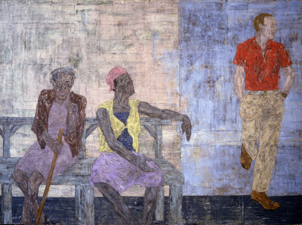 Leon Golub. (American, 1922–2004) Two Black Women and a White Man, 1986 acrylic on linen 120 x 163 inches Courtesy Ronald Feldman Gallery, New York © The Nancy Spero and Leon Golub Foundation for the Arts/Licensed by VAGA, New York, NY