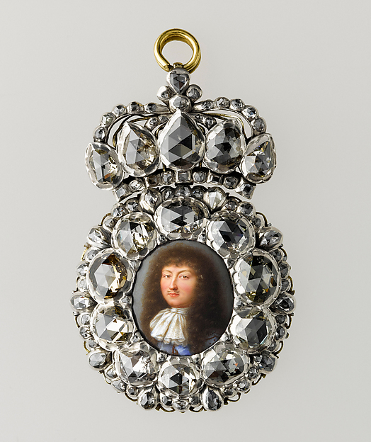 Boîte à portrait of Louis XIV Artist:Miniature portrait by Jean Petitot (Swiss, Geneva 1607–1691 Geneva) Mount maker:Setting by Pierre Le Tessier de Montarsy (French) or his son Pierre (French, 1647–1710) Date:ca. 1668 Medium:Painted enamel on gold, silver, set with ninety-two diamonds Dimensions:2 13/16 × 1 5/8 × 5/16 in. (7.2 × 4.2 × 0.8 cm) Classification:Miniatures Credit Line:Musée du Louvre, Paris, Département des Objets d'Art