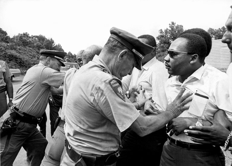 "The Rev. Dr. Martin Luther King Jr., right, as seen in ""King in the Wilderness."" Credit Underwood Archives/The Image Works/HBO"