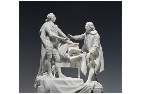 Charles-Gabriel Sauvage, called Lemire père (1741–1827). Figure of Louis XVI and Benjamin Franklin, 1780–85. Porcelain, 12 3/4 x 9 1/2 x 6 in. (32.4 x 24.1 x 15.2 cm). The Metropolitan Museum of Art, New York, Gift of William H. Huntington, 1883