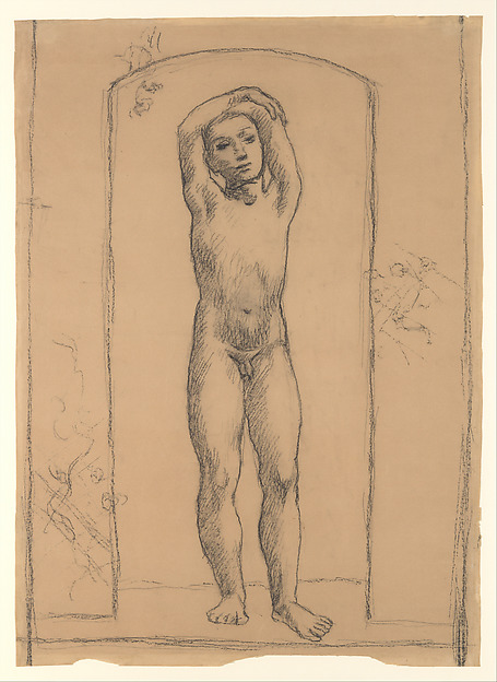 Youth in an Archway Artist:Pablo Picasso (Spanish, Malaga 1881–1973 Mougins, France) Date:1906 Medium:Conté crayon on paper