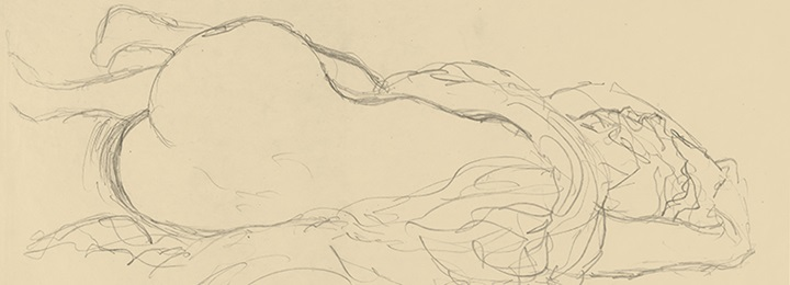 Gustav Klimt (Austrian, 1862–1918). Reclining Nude with Drapery, Back View (detail), ca. 1917–1918. Graphite, 14 5/8 x 22 3/8 in. (37.1 x 56.8 cm). The Metropolitan Museum of Art, New York, Bequest of Scofield Thayer, 1982
