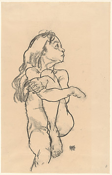 Seated Nude Girl Clasping Her Left Knee Artist:Egon Schiele (Austrian, Tulln 1890–1918 Vienna) Date:1918 Medium:Charcoal on paper