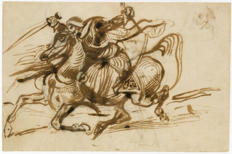 Eugène Delacroix (French, 1798–1863). The Giaour on Horseback, 1824–26. Pen and iron gall ink with wash over graphite. 7 15/16 x 12 in. (20.1 x 30.5 cm). The Metropolitan Museum of Art, New York, Gift from the Karen B. Cohen Collection of Eugène Delacroix, in honor of Jane Roberts, 2015