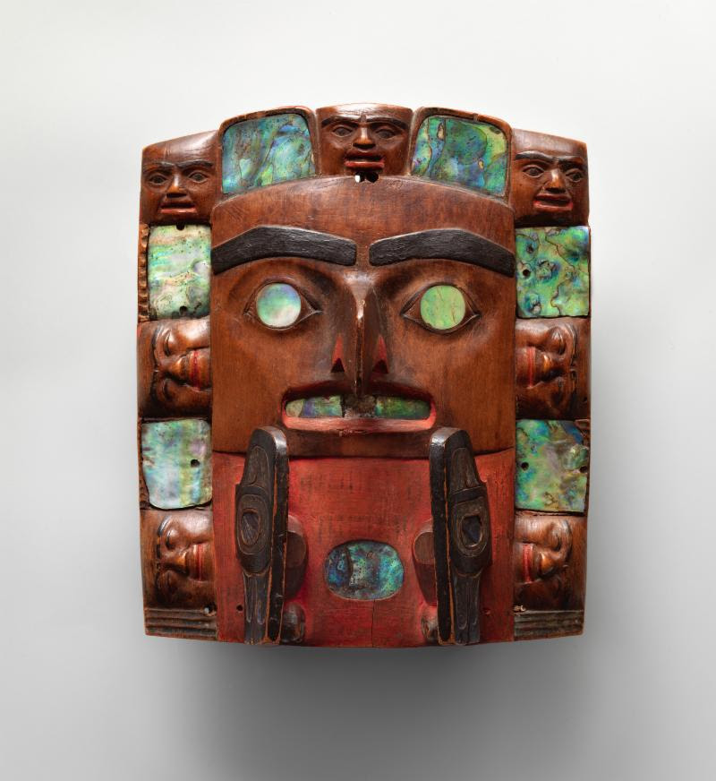 Tsimshian artist. Headdress frontlet. British Columbia, ca. 1820–40. Wood, abalone shell, pigment, and metal. The Charles and Valerie Diker Collection of Native American Art, Promised Gift of Charles and Valerie Diker