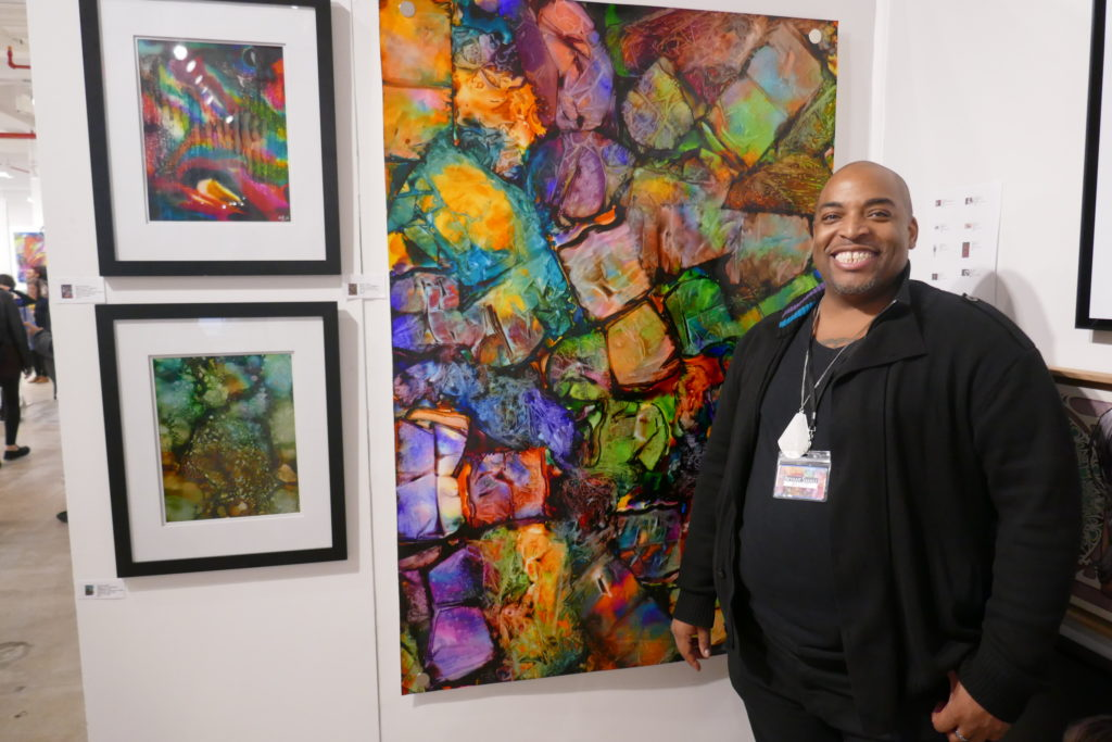 Bryant Small was exhibiting work with an unusual method to accomplish his canvases