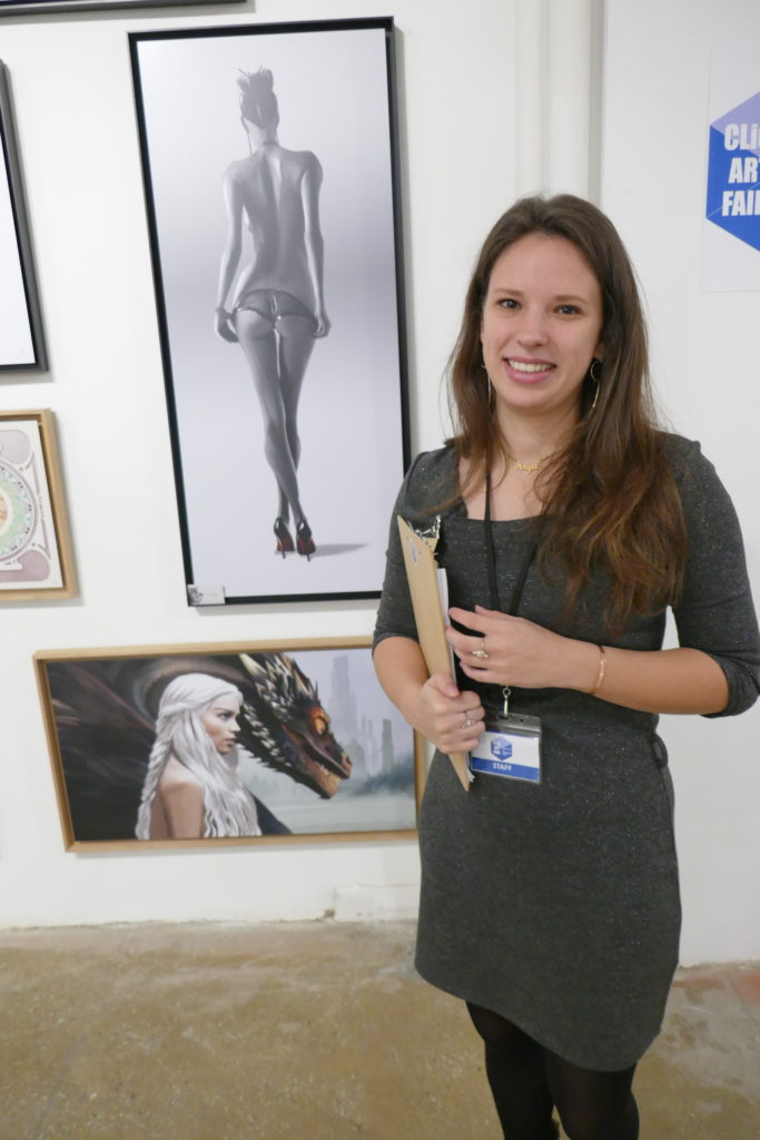 Although she lives in Paris, art advisor Angel Guyot as the projest manager assistant ran the Clio Art Fair from the entrance tables during its four days from Thursday to Sunday Oct 11-14