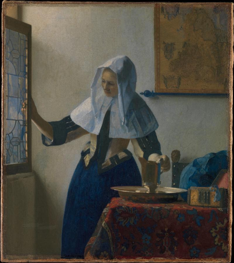 Johannes Vermeer (Dutch, Delft 1632–1675 Delft). Young Woman with a Water Pitcher, ca. 1662. Oil on canvas, 18 x 16 in. (45.7 x 40.6 cm). The Metropolitan Museum of Art, New York, Marquand Collection, Gift of Henry G. Marquand, 1889