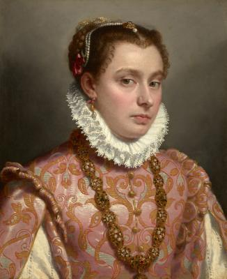 Giovanni Battista Moroni Portrait of a Young Woman, 1575 Oil on canvas 20 3/8 by 16 3/8 inches Private collection Photo  Michael Bodycomb